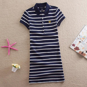 Embroidery Striped Polo Print Party Casual Dresses T Shirt Summer Sexy Club Evening Robe Women Vestidos - Deals Blast