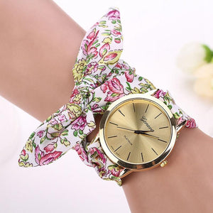 Ladies flower cloth wristwatch fashion women dress watch fabric watch sweet girls Bracelet watch - Deals Blast