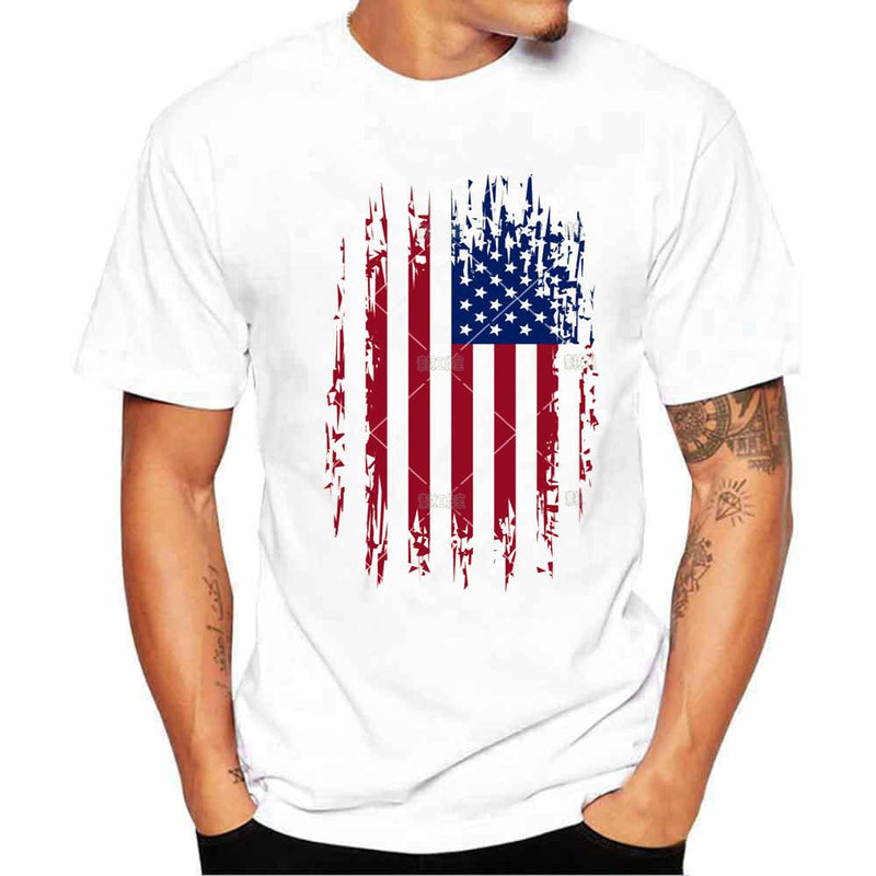 Fashion t shirt women Boy Plus Size unique Flag Print Tees Short Sleeve Cotton T Shirt men Tops t-shirt - DealsBlast.com