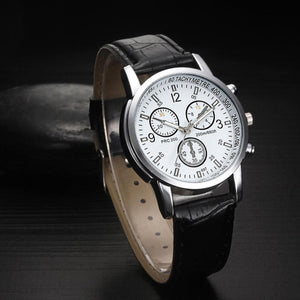 High Quality Luxury Leather Blue Ray Glass Wristwatch