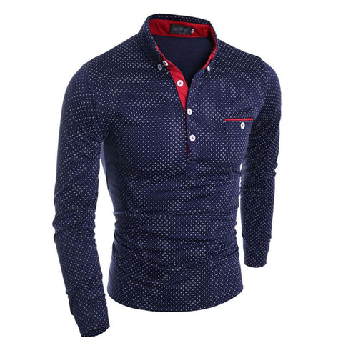Fashion Mens Slim Fit Long Sleeve Polo Shirt Casual Shirts