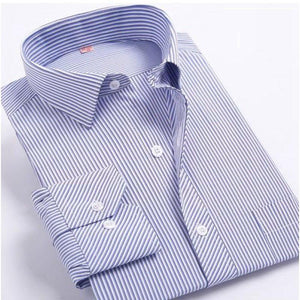 Fashion New Men Shirts Male Striped Formal Dress Shirt  Long Sleeve Mens Brand Casual Shirts Plus Big Size US Size 5XL 6XL - DealsBlast.com