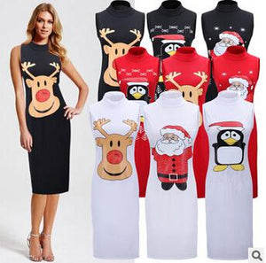 Christmas Party Dresses Santa Claus Deer Penguin Printed Sleeveless  For Women - DealsBlast.com