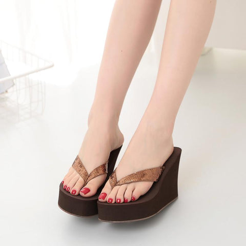 Comfortable Non-Slip Wedges Summer Sandals Slippers  Sequins Women Flip Flops Beach Sandals  Women