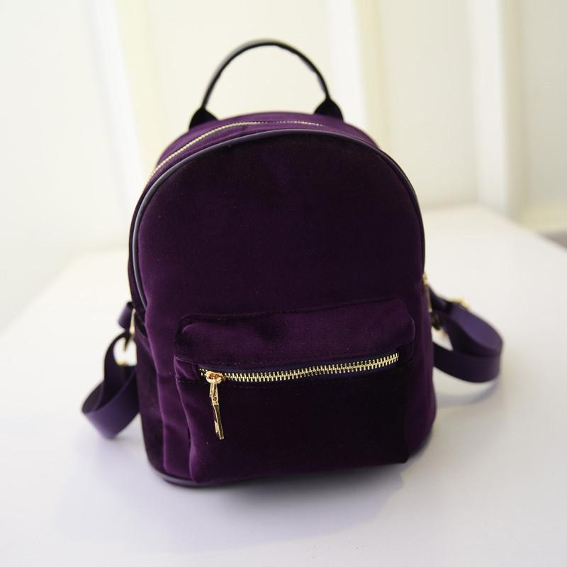 Fashion Women Velvet Backpacks Pleuche Casual Style Girls Mochila Zipper Bags