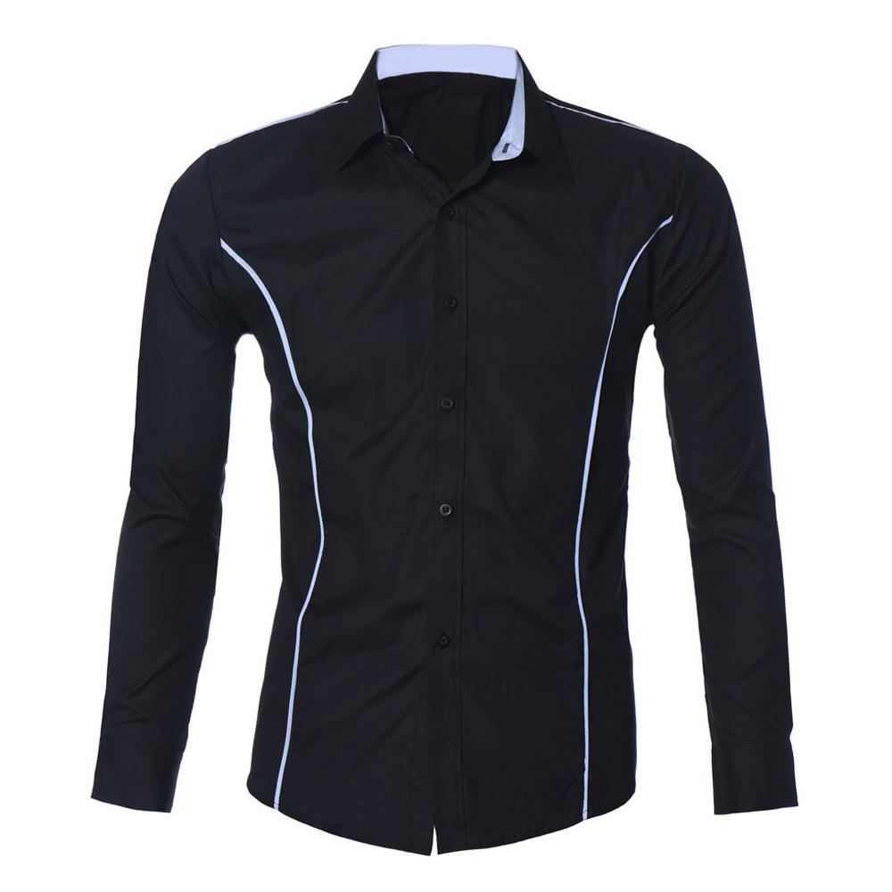 New Design Brand-Clothing Mens Luxury Long Sleeve Casual Slim Fit Stylish Dress Shirts chemise homme  XXL