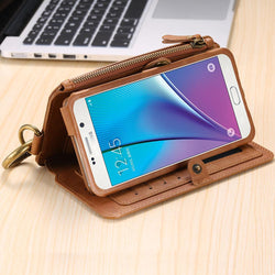 Leather wallet case Antique Business Phone Bag with Card Slot For Samsung Galaxy NOTE 3 4 5 S8 / S7 / S6/ edge plus - DealsBlast.com