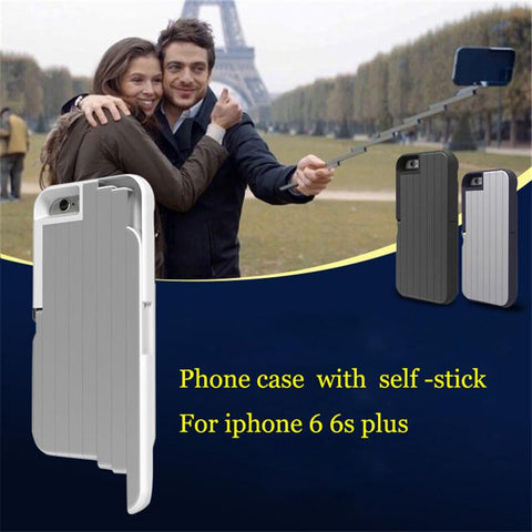 For 6 6s plus Handheld Self-timer Retractable Aluminum Lever Phone Cover Funda Shell Bag For iPhone 6 6s Selfie Stick Phone case