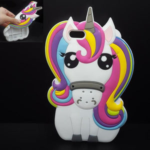 For iPhone 7 7Plus 6 6s Plus 5 5s 3D Rainbow Unicorn Case Horse Cute Cartoon Silicone Rubber Soft Cell Phone Cover Shell - Deals Blast