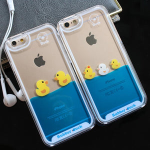 3D Clear Flowing Liquid Swimming Yellow Duck Back Cover For iPhone 7 5S X 8 6S Plus 7 Plus - DealsBlast.com