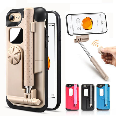 For iPhone 7 Case with Bluetooth Selfie Stick Phone Case for iPhone 7 7plus Case Coque mirror coque for iPhone 7 Plus Cover