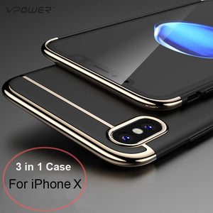3 in 1 Hard Plating Ultra Slim Case For Apple iPhone X - Deals Blast