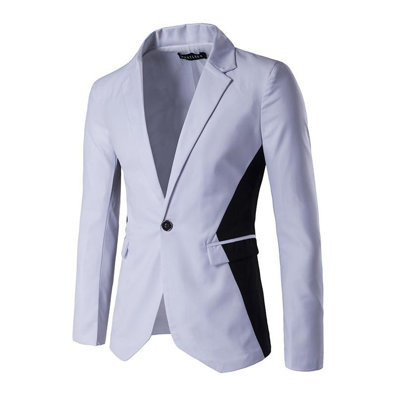 New autumn and winter with black and white button men slim color suit - Deals Blast