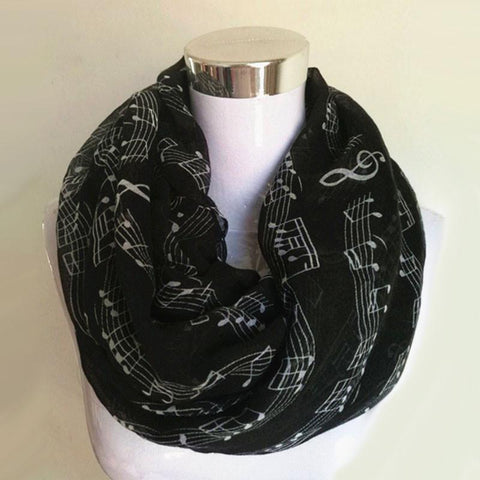 New Fashion White Burgundy Navy Music Note Sheet Music Piano Notes Script Print Scarves Infinity Scarf