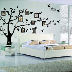 Large 200x250Cm/79x99in Black 3D DIY Photo Tree PVC Wall Decals/Adhesive Family Wall Stickers Mural Art Home Decor - DealsBlast.com