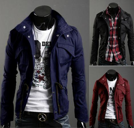 New Slim Sexy Top Designed Mens Jacket Coat Colour:Black,Army green,Gray,Wholesale&Retail,hot