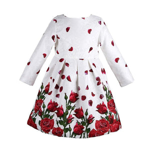 Long Sleeve Christmas Dresses Kids Clothes Rose Flower Robe Children - DealsBlast.com