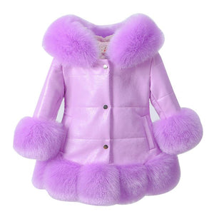 Girl's Coats PU Leather Faux fur Down Jacket Hooded Kids Parka Winter Thicken Teenage Outwear Snow Wear - DealsBlast.com