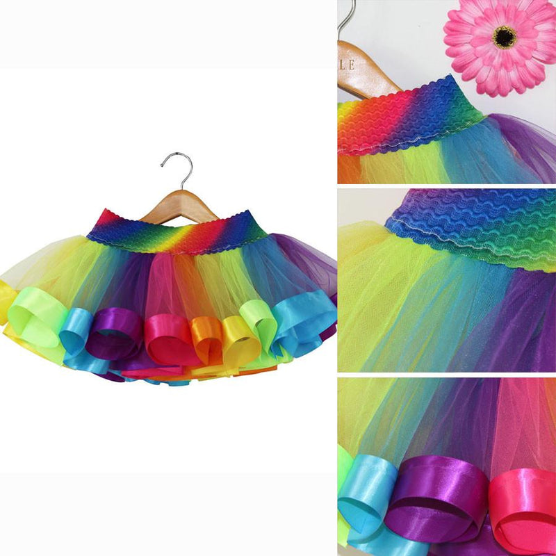 e8a4a48fe2 ... Girls Rainbow Tutu Skirt Kids Ballet Pettiskirt Toddler Children  Birthday Party Tutu Baby Skirt Summer Flower ...
