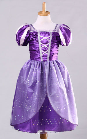 Girls Rapunzel Fancy Dress Costume Kids Princess Outfit Cosplay Dress For Girl Tangled Princess Dress Purple Tulle Dress