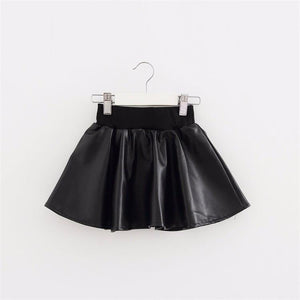 Girls Skirts New Fashion PU Faux Leather jupe Elastic Waist Baby Girl Tutu Skirt Autumn Black Kids Short Skirt Children Clothing - Deals Blast
