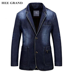 Men Fashion Denim Blazer New Arrival Full Sleeve Straight Single Breasted Spring Suits Plus Size M-3XL - DealsBlast.com