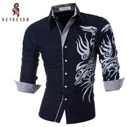 New Men'S Long-Sleeved Dress Shirt Dragons Men'S Casual Slim Lapel Male Quality Large Size 4XL - Deals Blast