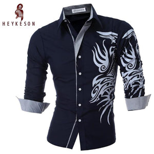 New Men'S Long-Sleeved Dress Shirt Dragons Men'S Casual Slim Lapel Male Quality Large Size 4XL - DealsBlast.com