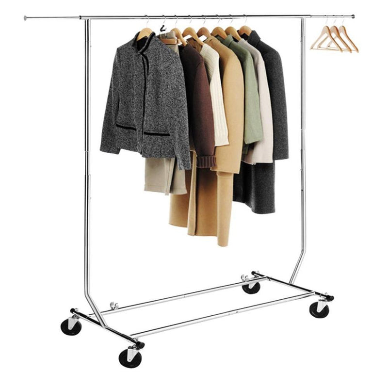 Single Rail Rolling Folding Clothing Hanging Stand
