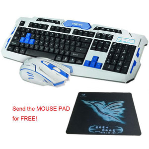 HOT! 2.4G Wireless Gaming Keyboard Mouse Combo Set Optical Waterproof Multimedia Gamer Keyboard Mouse Pad Kit for Laptop PC - Deals Blast
