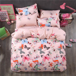 Fashion Luxury 3D Butterflies Cartoon Printing Double  Pattern Bedding sets include Duvet cover Flat  sheet Pillowcase - Deals Blast