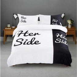 Her Side His Side Couple's Bedding Sets 4 pcs Duvet Cover Bed Sheet Pillow Cases Size Queen White & Black - Deals Blast