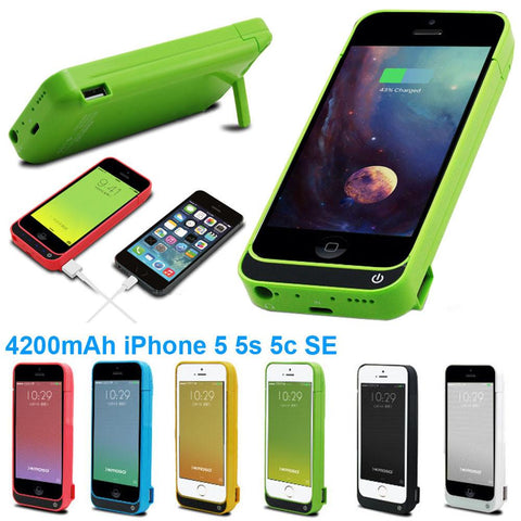 High quality  adapter 4200mAh External power bank Charger pack backup battery case for iphone SE 5 5s 5c choose cover