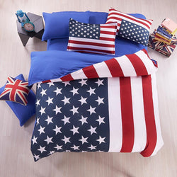 United States/United Kingdom Flag Pattern 4pcs Bed Linen Bedspread