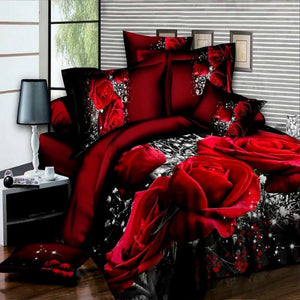 3D Bedding Sets Cotton Leopard Grain Rose Panther Queen 4 Pcs Duvet Cover Bed Sheet Pillowcase Bedclothes - Deals Blast