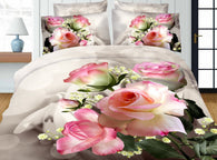 Home Textiles,Rose Peony Pattern Queen Size 3D Bedding Sets 4Pcs Of Duvet Cover Bed Sheet Pillowcase Bedclothes - DealsBlast.com