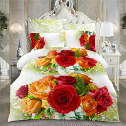 Home textile 3d Chrysanthemum bedding set  4pc family set,Include:bed sheet,duvet cover pillowcases - DealsBlast.com