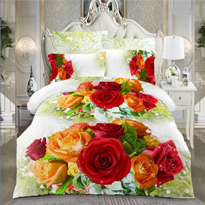 Home textile 3d Chrysanthemum bedding set  4pc family set,Include:bed sheet,duvet cover pillowcases - Deals Blast