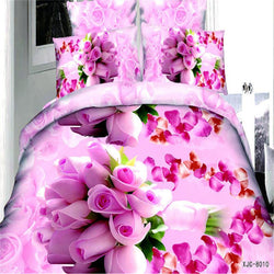 Home textile Reactive Print 3D pink Rose bedding sets luxury Double Queen king Size Bed Quilt Duvet Cover Pillowcases bedsheet - Deals Blast