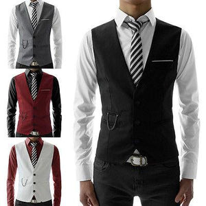 Hot Fashion Men Jacket Suit Slim Fit Vest Casual Business Formal Vest Waistcoat - DealsBlast.com