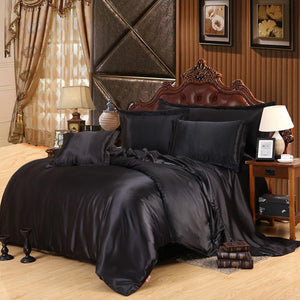 Luxury Pure Color Satin Silk Bedding Set 4Pcs Include Duvet Cover Flat Sheet Pillowcase