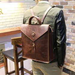 Hot Sales England Style Crazy Horse PU Leather Backpack New Vintage Fashion School Knapsack Students Laptop Satchel and Backpack - Deals Blast