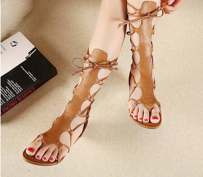 da93ebb3c ... Hot Shoes Women Knee High Gladiator Sandals Hollow Out Size 35-40 PU  Leather Summer ...