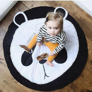 Round Panda Printed Soft Baby Play Mat - DealsBlast.com