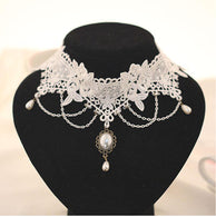 Pearl White Lace Choker Necklaces Bridal Jewelry Women Wedding Pendant - DealsBlast.com