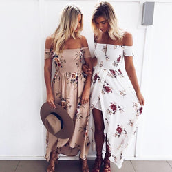 Boho style long dress women Off shoulder beach summer dresses Floral print Vintage chiffon white maxi dress - Deals Blast