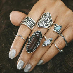Punk Ring Sets Boho Vintage stone for Women - DealsBlast.com