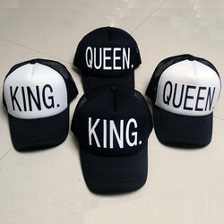 KING QUEEN Baseball Cap Print Men Women Polyester Mesh Summer Visor Snapback Caps White Black Couple Lover Hip Hop Sport Hats - Deals Blast