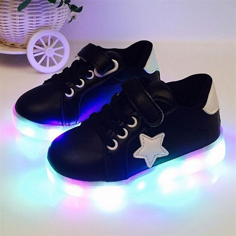 9ba123caa345b Kids Shoes With Light Autumn Baby Boys Girls LED Light Shoes Children  sneakers - DealsBlast.
