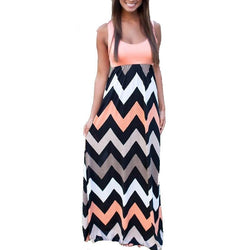 Women Summer Beach Boho Maxi Dress High Quality Brand Striped Print Long Dresses Feminine Plus Size - DealsBlast.com